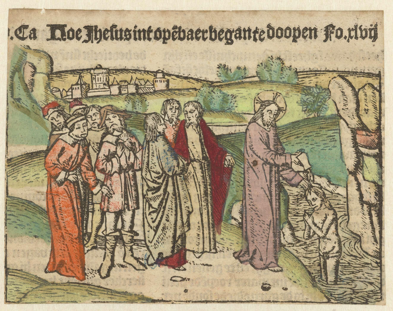 anoniem | Christus doopt in de Jordaan, attributed to Meester van Haarlem, 1483 - 1486 |