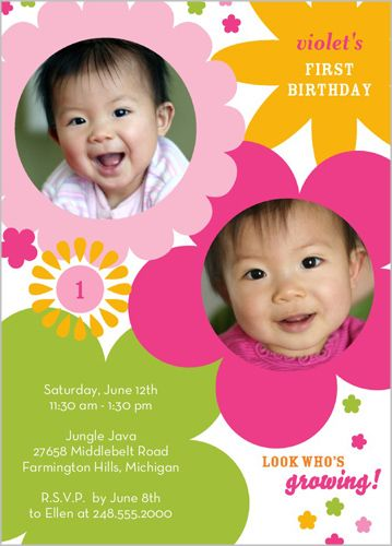 She S Blooming Birthday Invitation 5x7 Stationery Card By Demby Solomon Shu Birthday Invitations 1st Birthday Girls Girl First Birthday