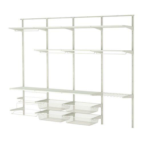 IKEA - ALGOT, Veggskinne/stang/skostativ, Delene i ALGOT-serien kan kombineres på mange ulike måter og er derfor enkle å tilpasse etter behov og plass.Siden du bare trenger å klikke på plass hylleknekter, hyller og annet tilbehør, er det enkelt å montere, tilpasse og endres din oppbevaringsløsning.Kan stilles hvor du vil hjemme, selv i fuktige områder som baderom og innglassede balkonger.