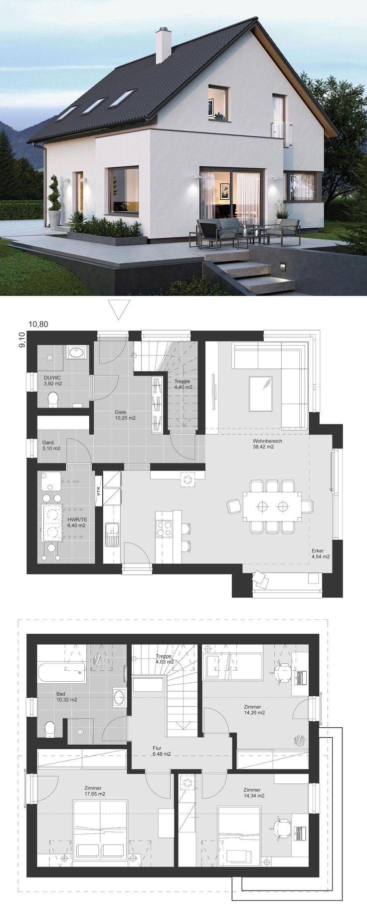 Modernes Haus mit Erker Anbau & Satteldach Architektur - Haus bauen Ideen Grundriss ELK Haus 135 von ELK Fertighaus - HausbauDirekt.de