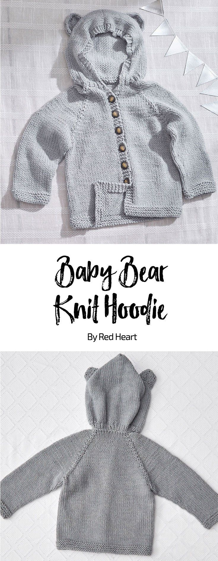 967136674aaa Baby Bear Knit Hoodie free knit pattern in Bunches of Hugs yarn. Your sweet  little one will be as huggable as can be in this cozy hoodie.