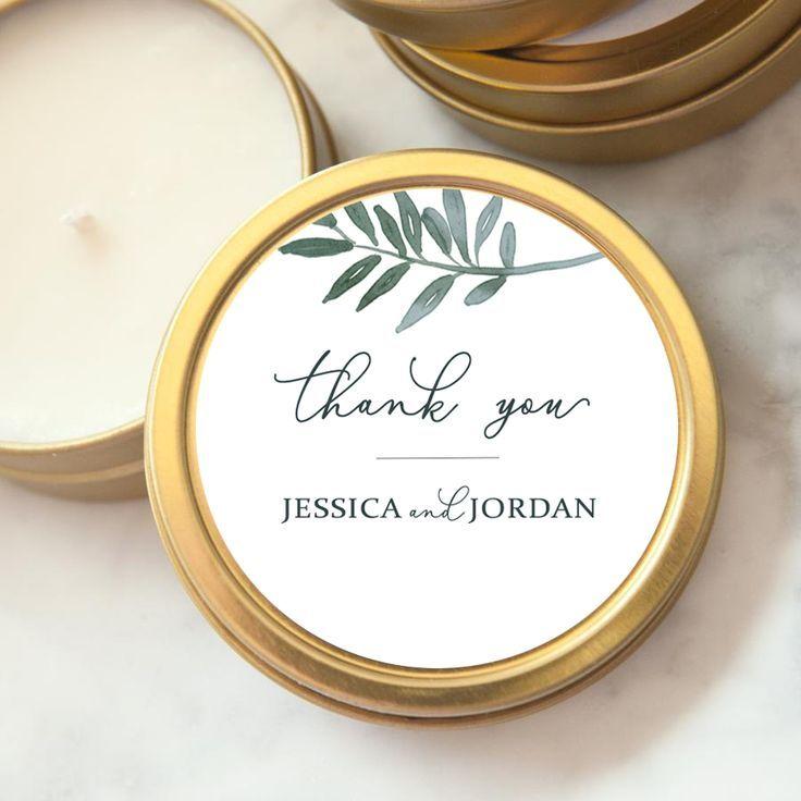 Custom Wedding Favor Candle - Botanical Thank You