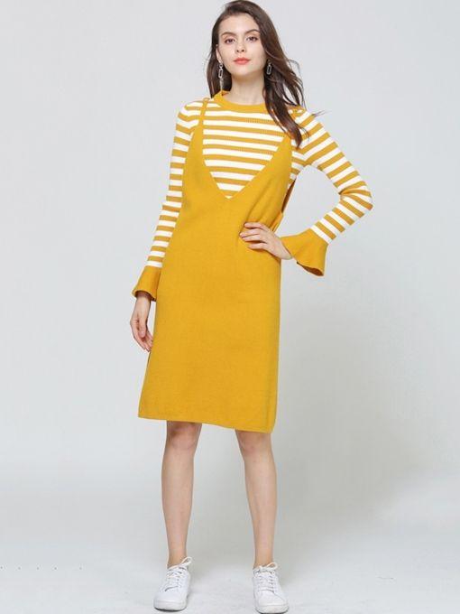 184fc2d9fa36 Round Neck Patchwork Stripe Women s Long Sleeve Dress  TrendingNow   womanfashion  musthavesfashion  fashion  fashionista  afflink