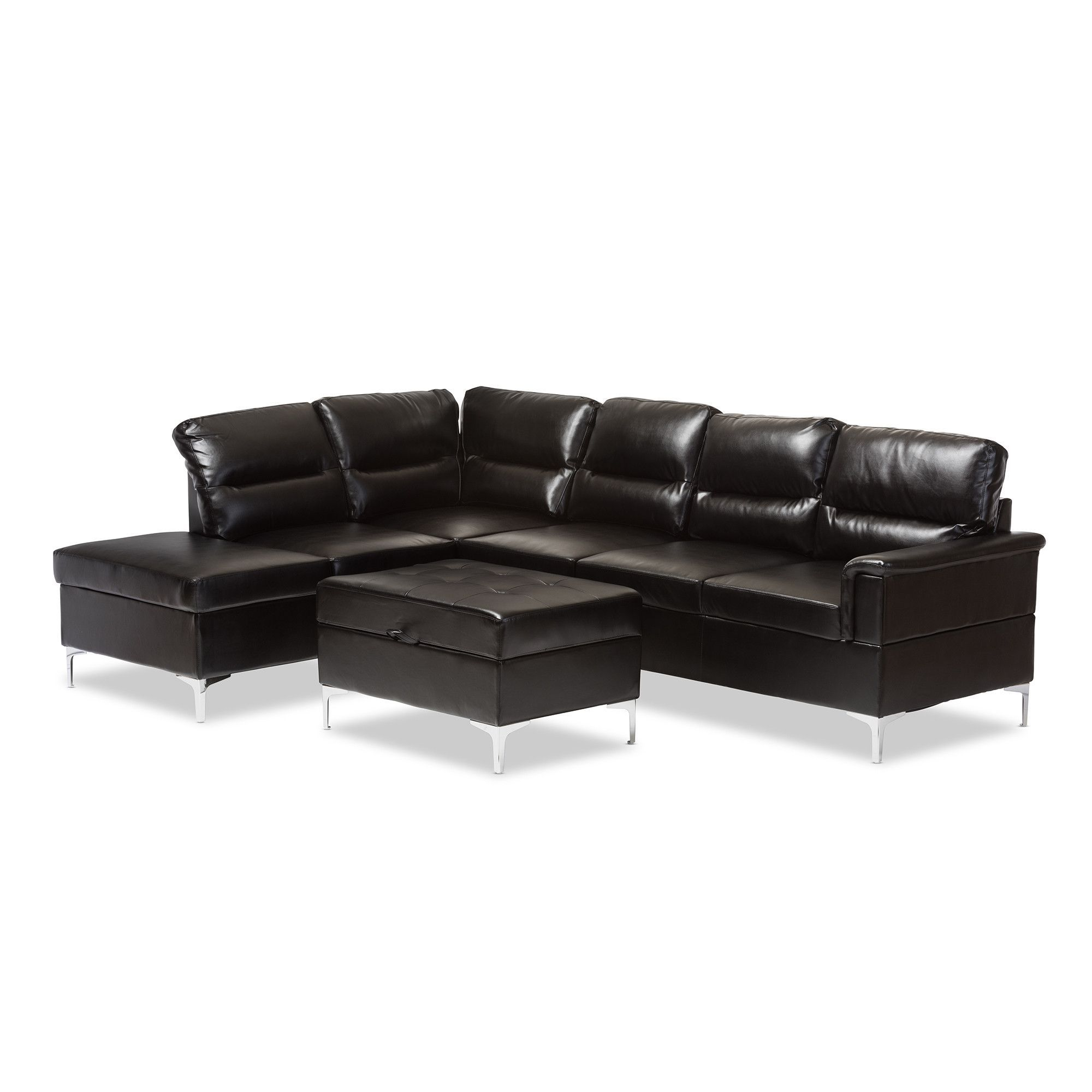 Kinsley Black Faux Leather 3 Piece Sectional Sofa Storage Ottoman