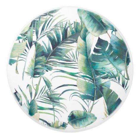 Watercolor Green Palm Leaf Jungle Pattern Ceramic Knob | Zazzle.com #junglepattern