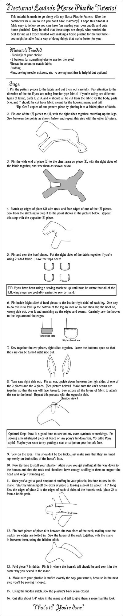 Horse Plushie Tutorial By Nocturnalequine On Deviantart Plushies Plushie Patterns Farm Themed Birthday Party