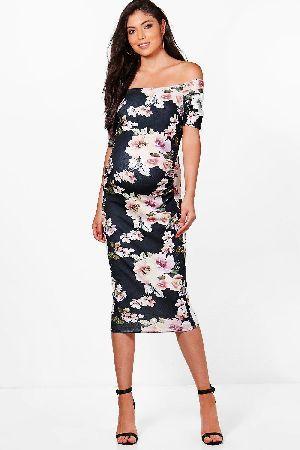 cea4954f6ec  boohoo Abi Bardot Dress With Half Sleeve - multi BZZ49535  Maternity Abi Bardot  Dress