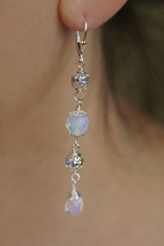 Blue Moon Earrings Opal Silver And Chandelier Bridal Bride