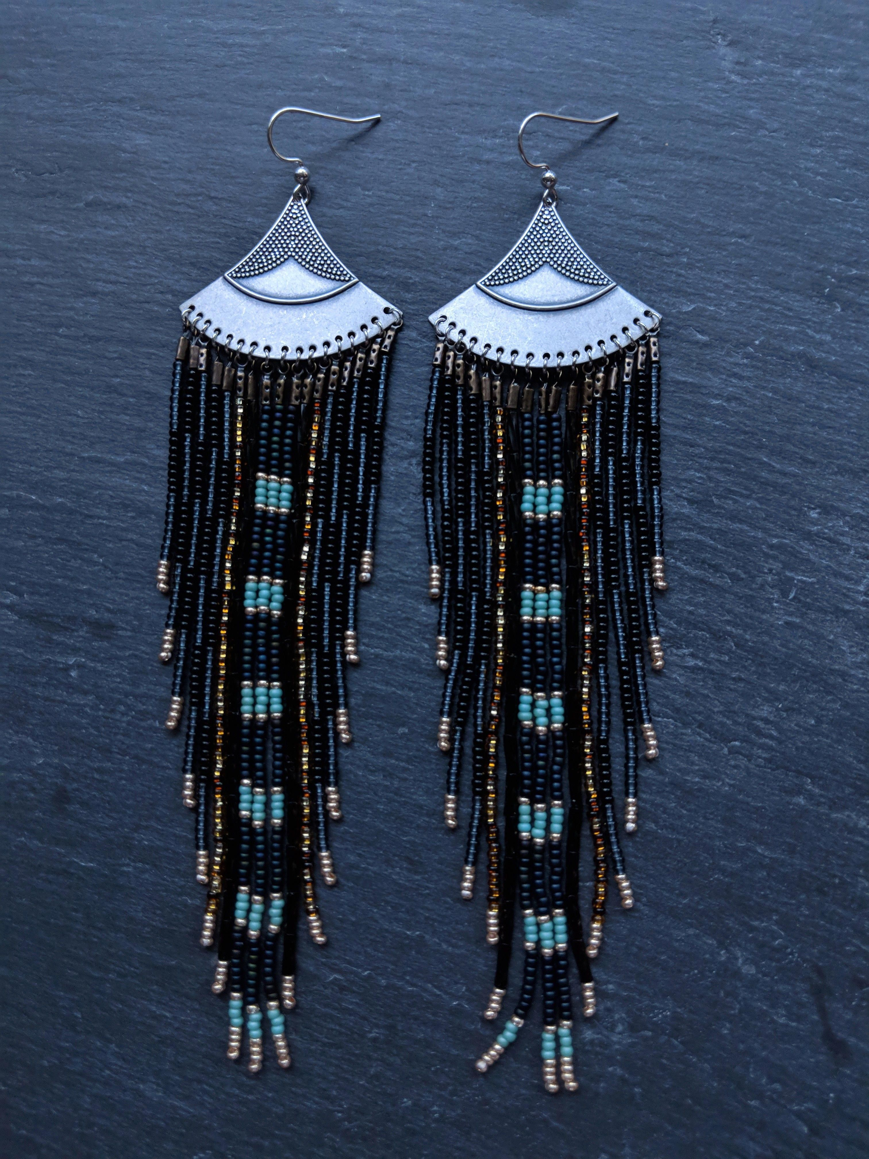 Made With Golden and Blue Miyuki Bead and Handmade Ear wires Blue Handmade Star Earrings