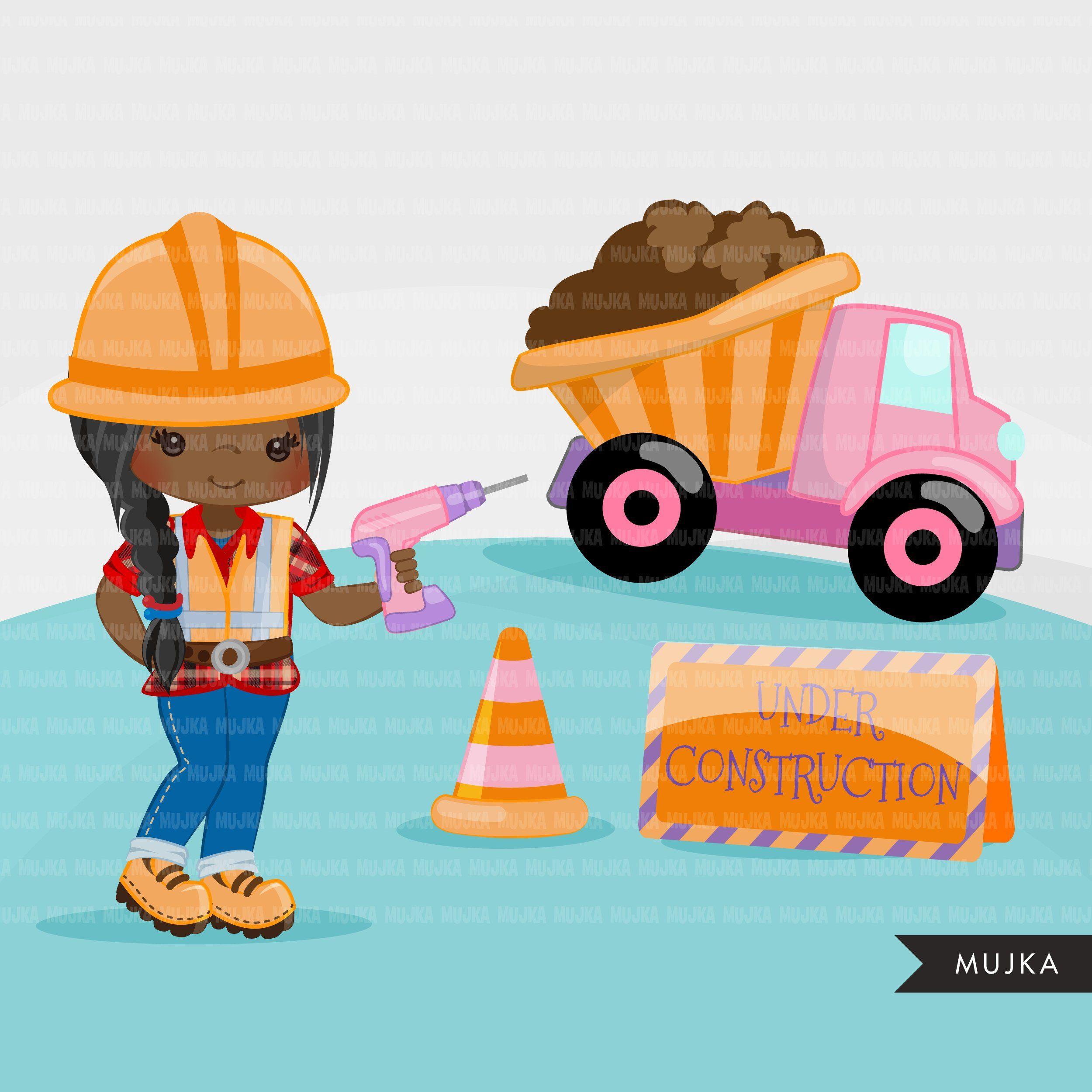 Construction Clipart Little Girl Contractor Hard Hat Dump Truck Crane Excavator Bulldozer Vehicle Tools Drill Safety Jacket Scrapbooking Set Digital Embroidery Dump Truck