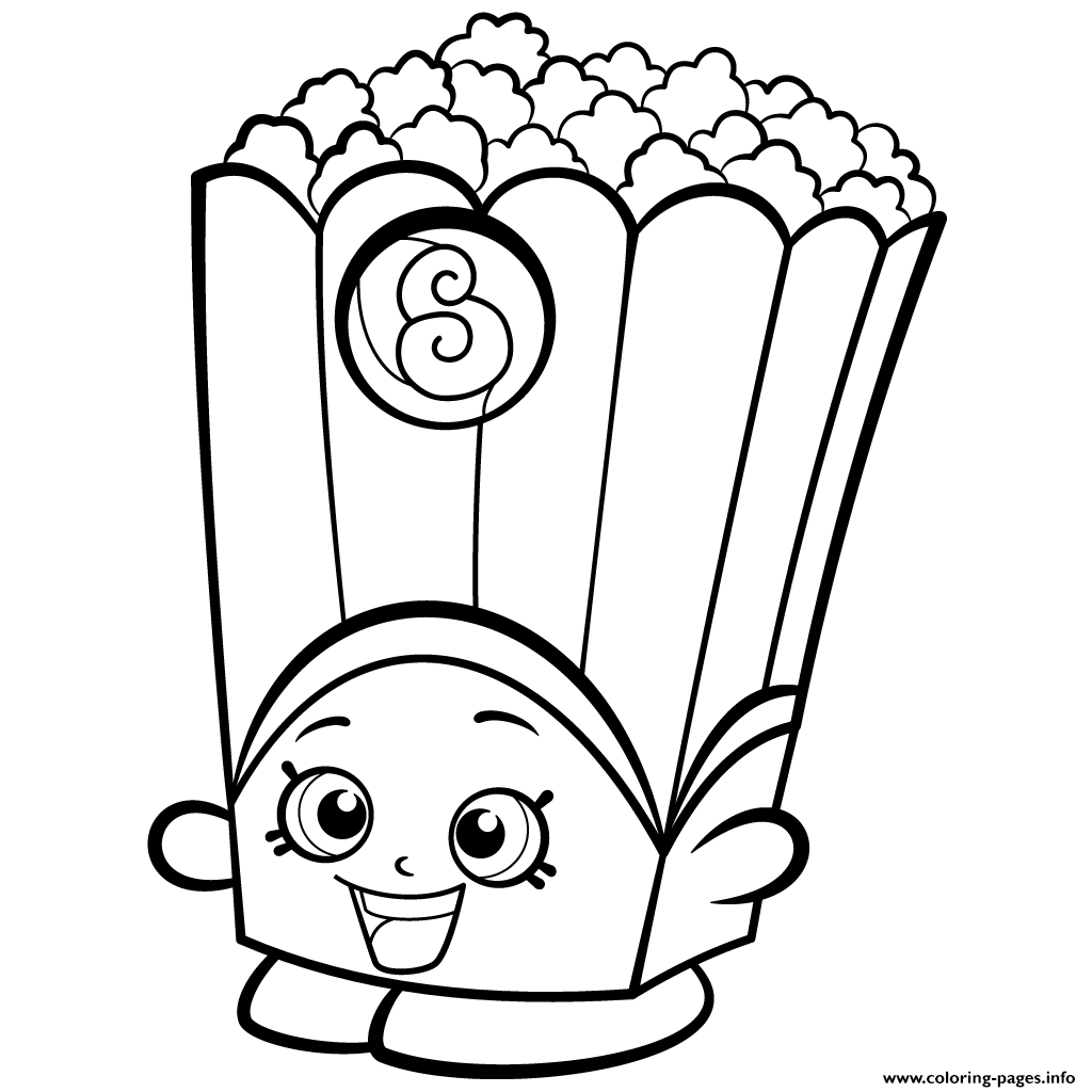 Print Popcorn Box Poppy Corn Shopkins Season 2 Coloring