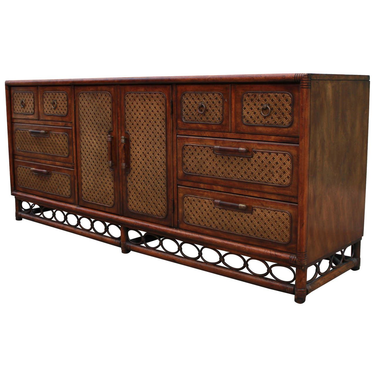 Faux Bamboo and Cane Campaign Dresser | From a unique collection of antique and modern sideboards at https://www.1stdibs.com/furniture/storage-case-pieces/sideboards/
