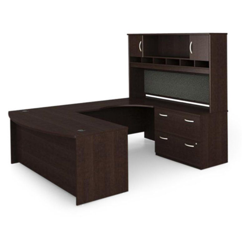 Bush Series C UShaped Desk with 2 Door Hutch and Lateral