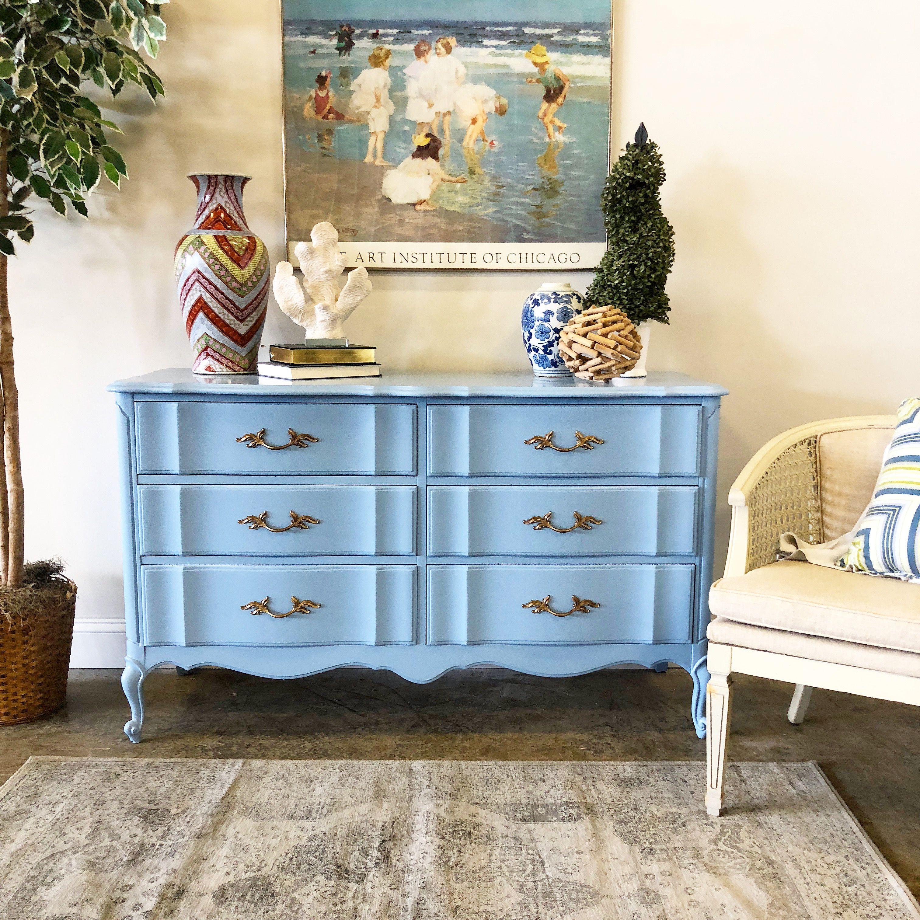Light Blue Painted French Provincial Dresser Blue Painted Furniture Blue Bedroom Furniture Blue Painted Dresser [ 3024 x 3024 Pixel ]