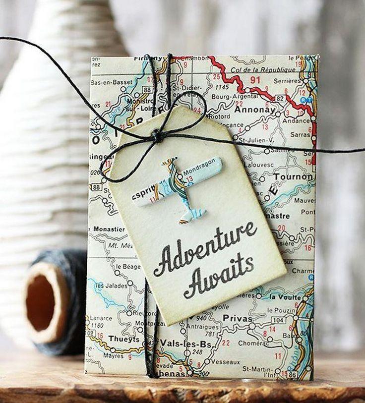gutschein reise basteln ideen weltkarte geschenkanhänger