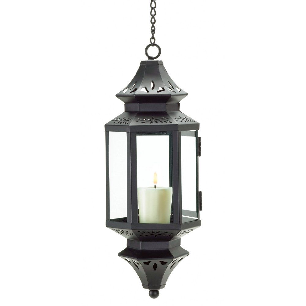 Amazon.com - Gifts & Decor Hanging Moroccan Lantern Glass Outdoor Candleholder - Decorative Candle Lanterns