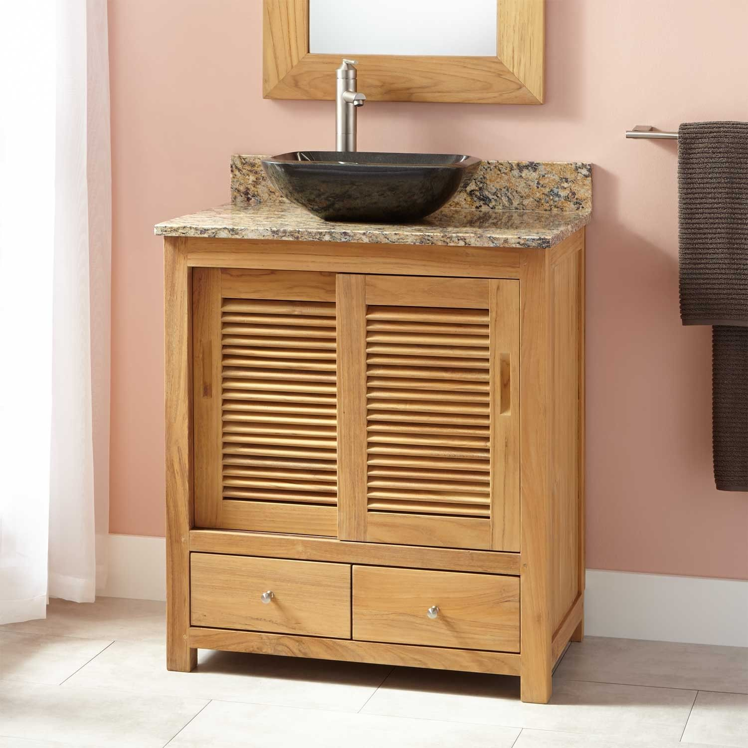 "30""narrowdeptharreyteakvesselsinkvanity  Bathroom Remodel Simple Narrow Depth Bathroom Vanity Design Ideas"