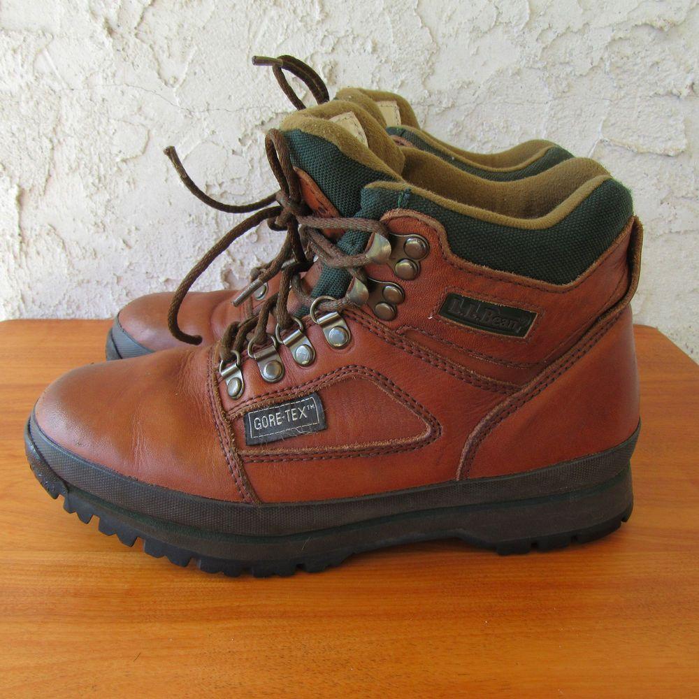 LL Bean Womens Goretex Hiking Boots size 7.5 Brown Leather Knife Edge #LLBean #Hiking #WalkingHiking