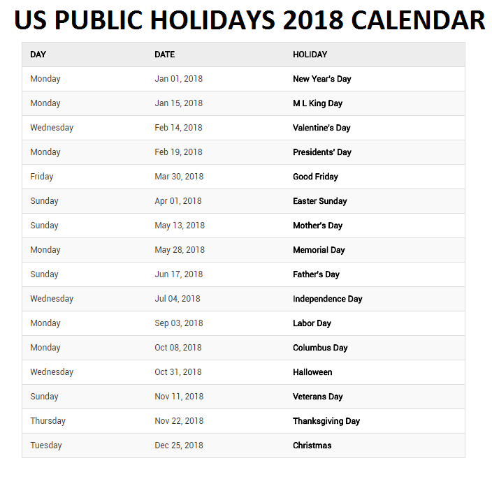 Us Public Holidays Calendar Holiday Calendar 2018 Holiday