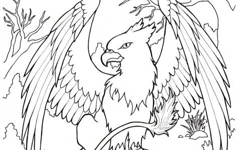 Griffin Coloring Page Practical Scrappers Coloring Pages Mythical Creatures Color