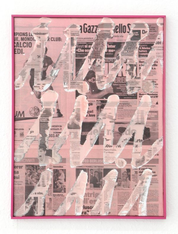 Nikolas Gambaroff, Untitled, 2010, 18 x 24 inch, newspaper on canvas