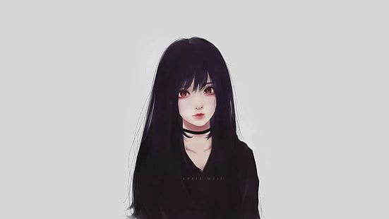 HD wallpaper: anime, anime girls, black hair, Kyrie Meii, portrait, looking at camera
