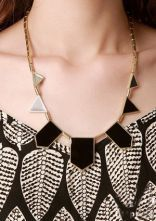Black Geometric Shape Chain Necklace, cool look!!