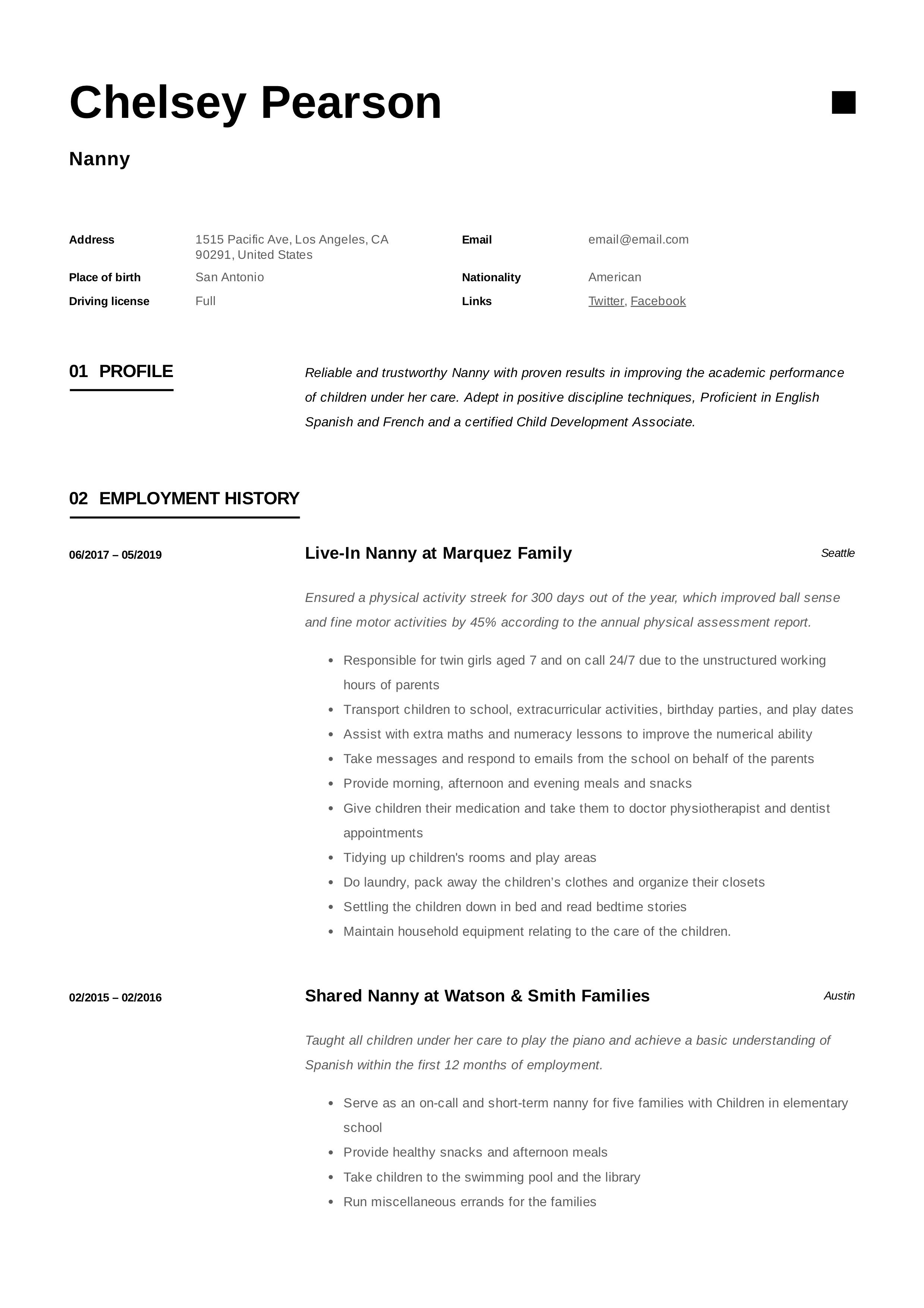 Nanny resume template in 2020 administrative assistant