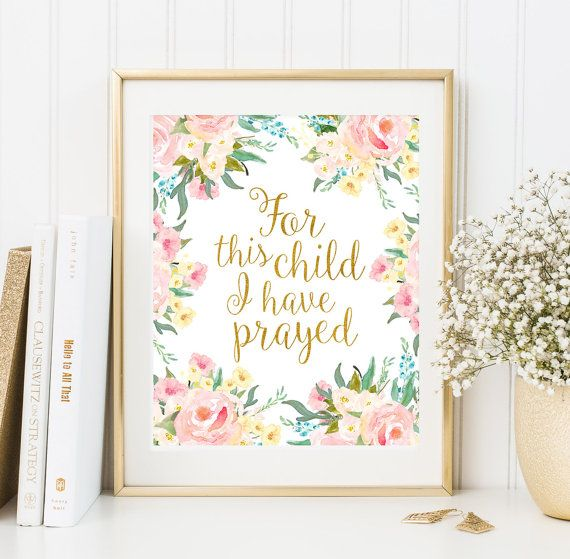 For This Child I Have Prayed Bible Verse Art Printable Floral Frame
