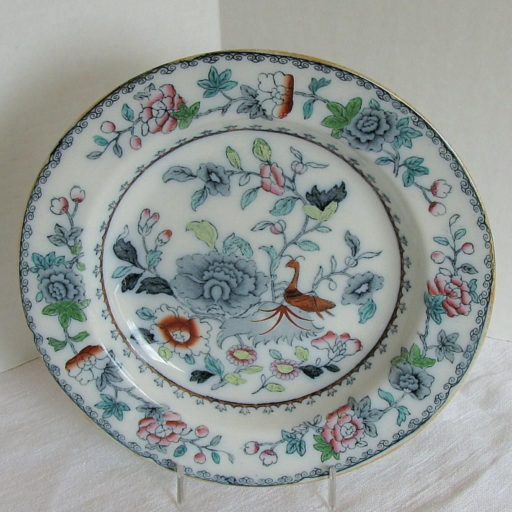 Ashworth Bros Ironstone Plate India Grasshopper Antique Early 20th C Antiques Ironstone Porcelain Ceramics