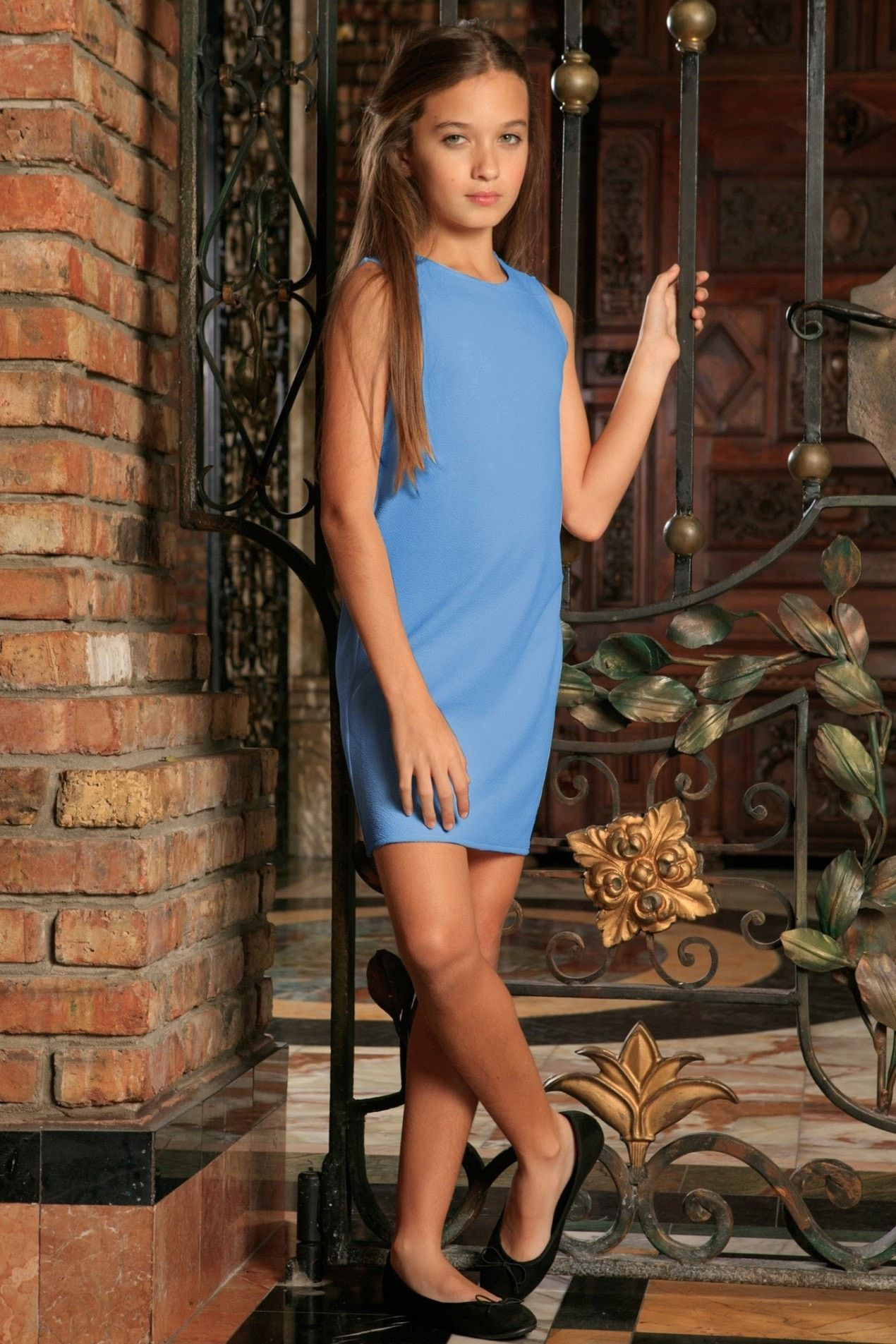 Blue stretchy sleeveless cute summer shift dress girls products