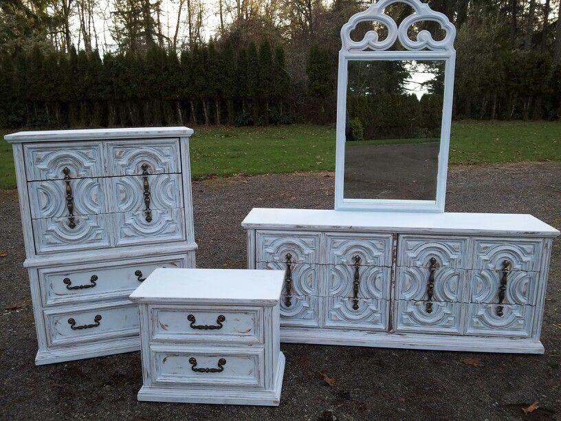 Superieur #distressed #bedroom Set #dresser #armoire #nightstand #shabbychic #upcycle  Available