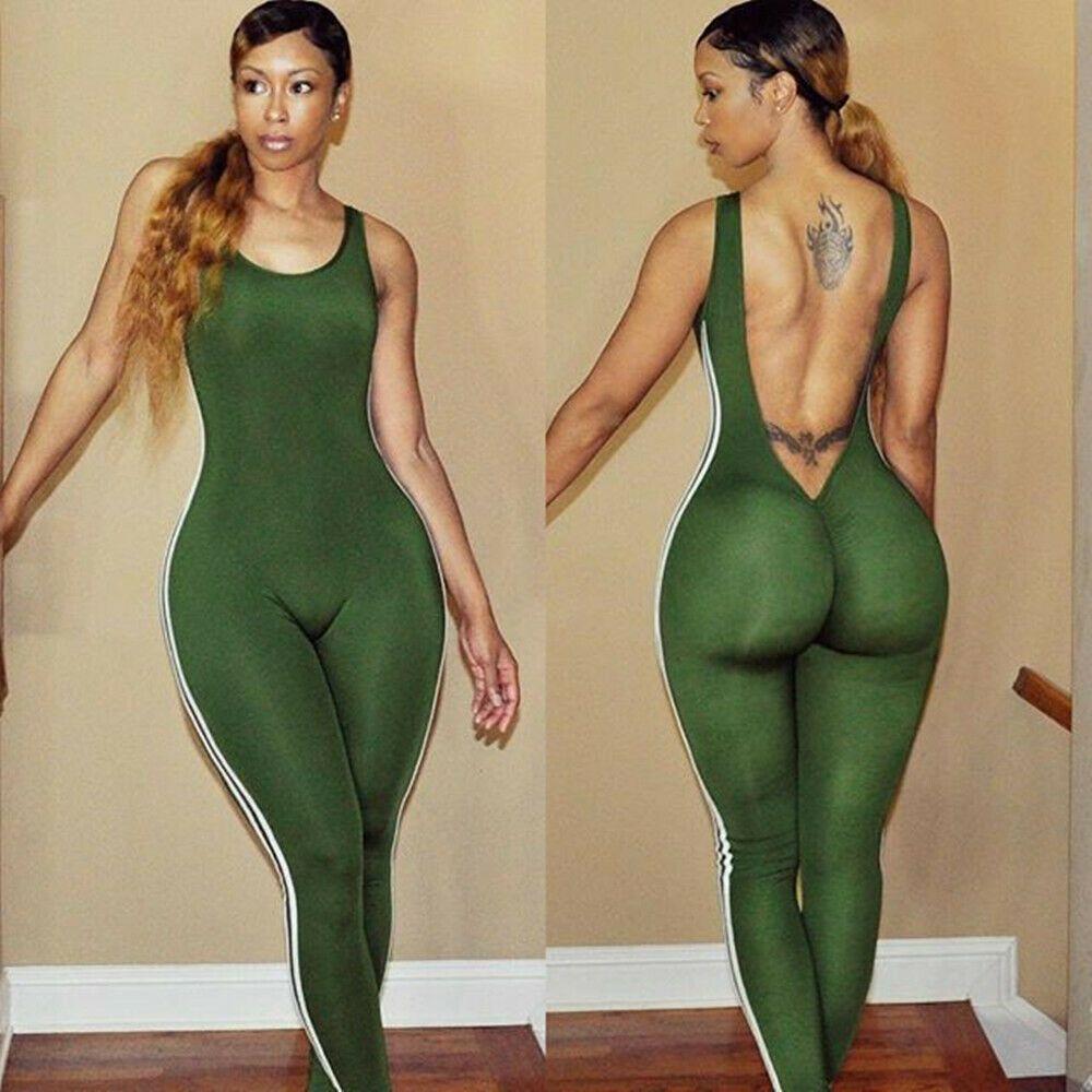 Green Backless White Side Stripes Jumpsuit Sizes UK 8 10