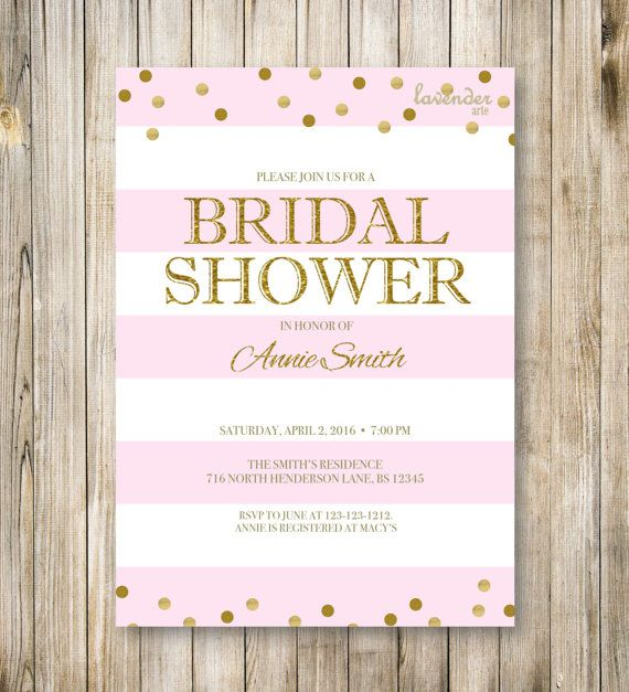98cb8c091aa RUSTIC NAUTICAL Bridal Shower Invitation Blush Pink Stripes ...