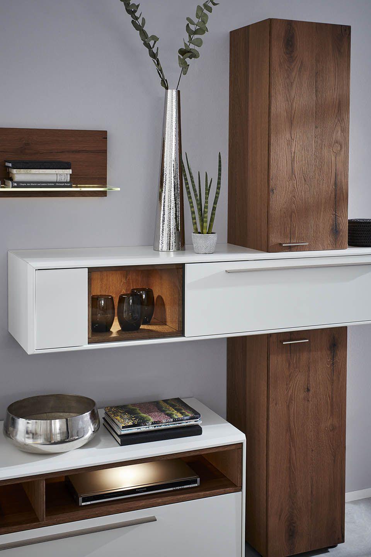 Wohnzimmer Serie 2102 Wohnwand Weiss Holz Holz Wohnzimmer