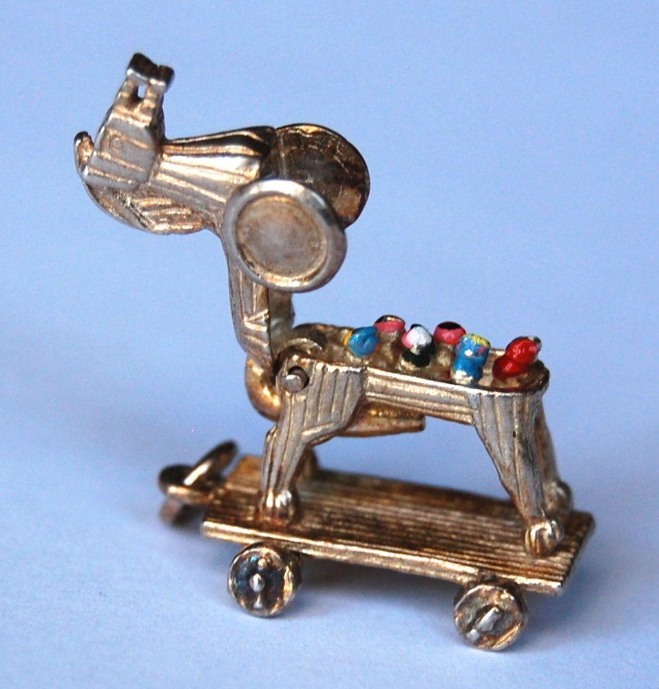 vintage uk sterling silver trojan horse charm opens enamelled