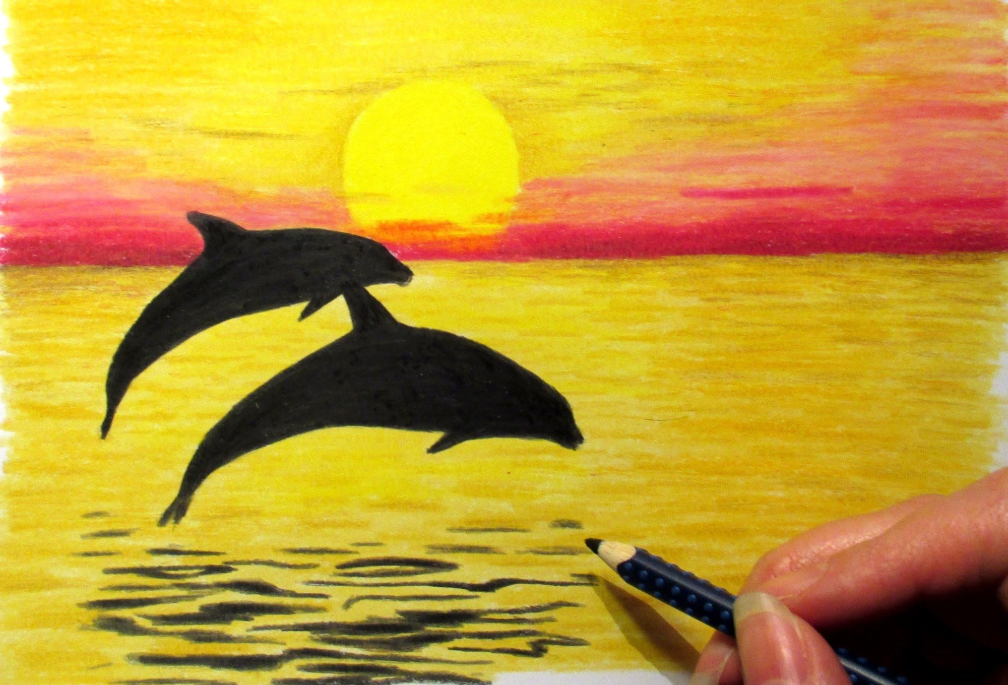 Landscape In Colored Pencil Sunset And 2 Dolphins Drawing Jasmina