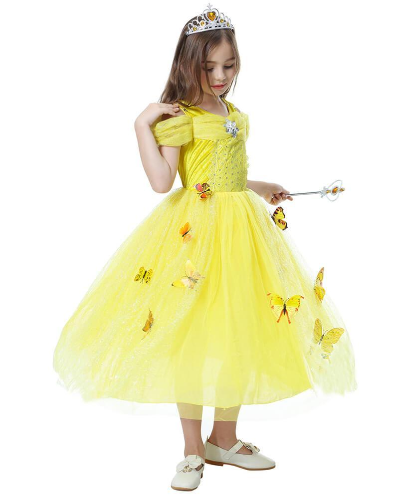 d2af25dec75 Girls Belle Princess Ball Gown Dress kid School Stage Play Costume –  FADCOVER