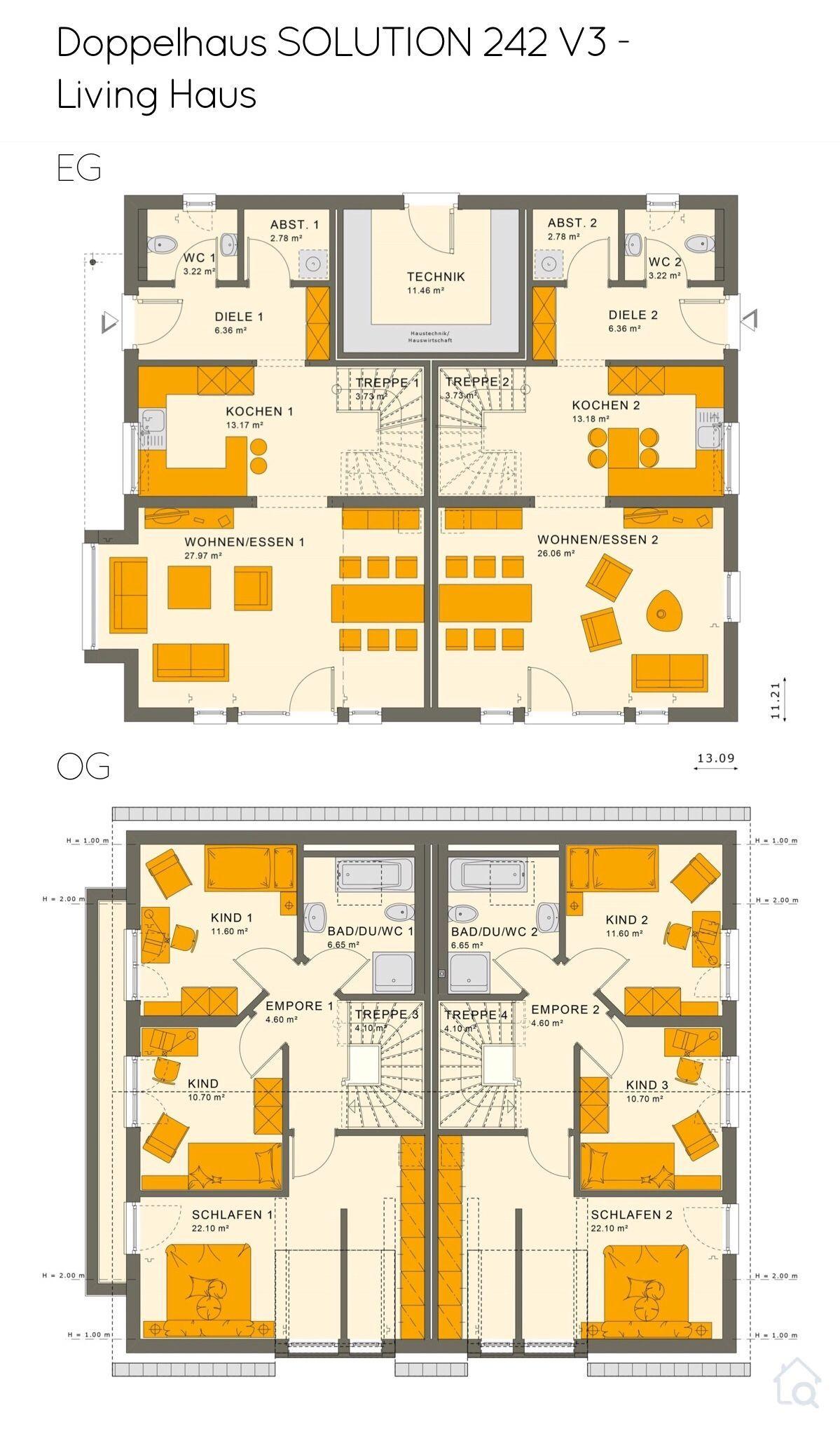 Grundriss Doppelhaus modern mit Satteldach Architektur