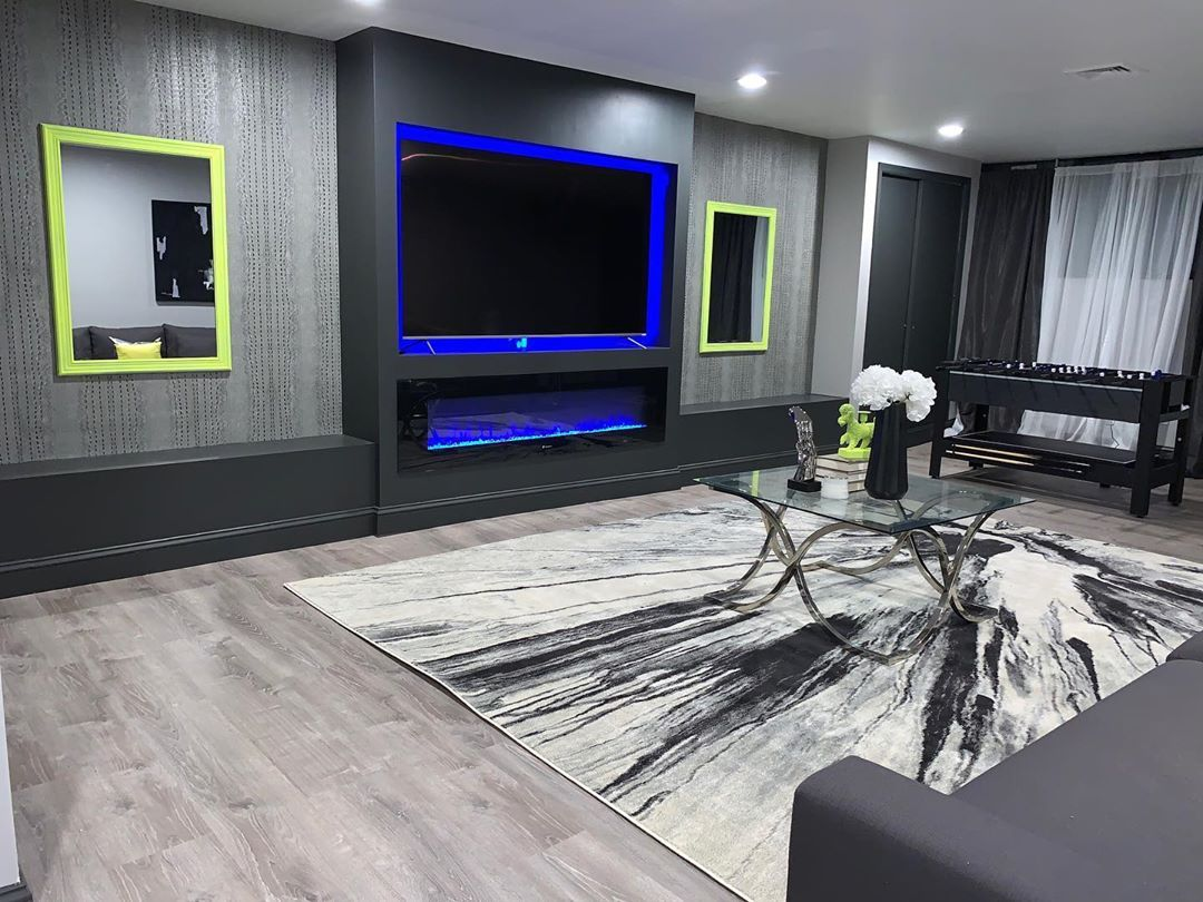 Dopeliving On Instagram Dopeliving Basement Reno This Was A Complete Renovation I Enjoyed The Entire Transition Turned A Empty Lounge Room Renovations Home