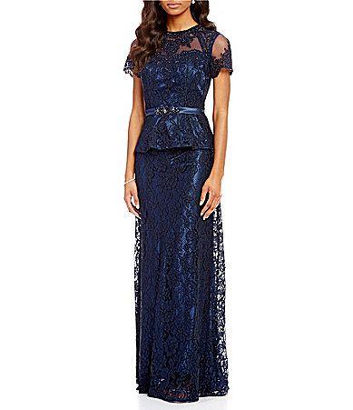 MGNY Madeline Gardner New York Lace Peplum Gown #Dillards | Mother ...