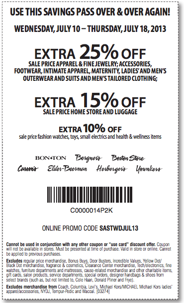 graphic relating to Bon Ton Printable Coupon named 25% Bon-Good deal, Bergners, Boston Shop, Carson Pirie Scott