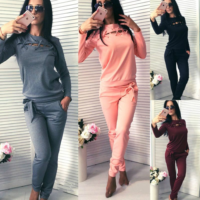 2Pcs Women Tracksuit Hoodies Sweatshirt Pants Sets Sport Wear Casual Suits S-Xl