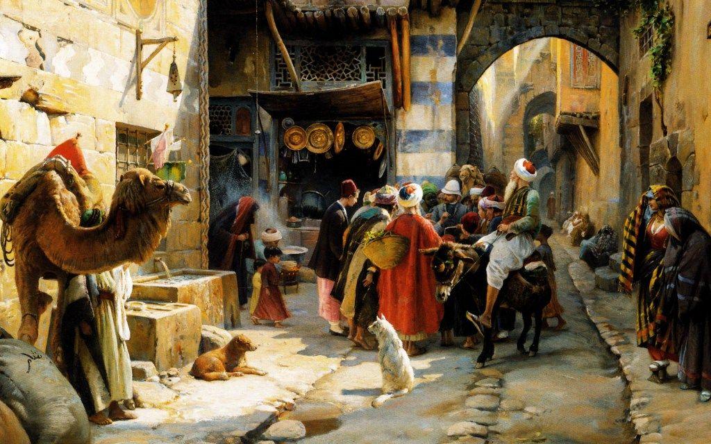 Gustav bauernfeind / Oriental scene   Painting, Tablolar, Resim