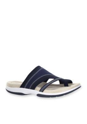 500ce2fb5ab0da Easy Street Shoes Navy LeatherFabric Gypsy Sandal