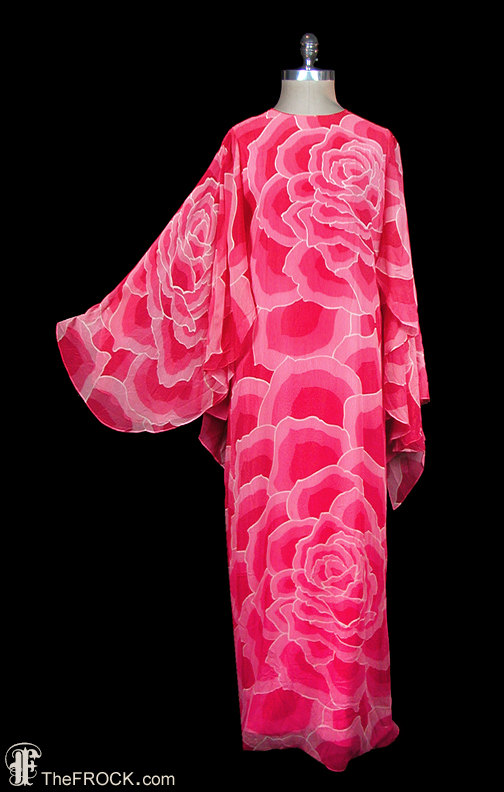 Hanae Mori 1970s vintage silk chiffon gown, avant garde dress, bold abstract rose printed, kimono sleeves, Japanese couture maxi
