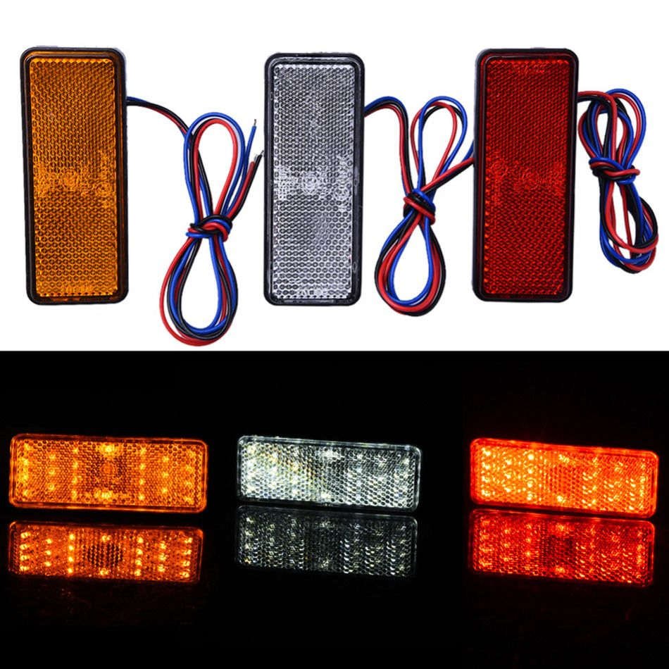 New Motorcycle ATV Safety Light Reflector Caution Warning Blinker Red