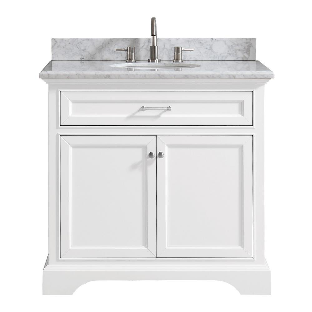 Home Decorators Collection Windlowe 37 In W X 22 In D X 35 In H Bath Vanity In White With Carrera Marble Vanity Top In White With White Sink 15101 Vs37c Wt Marble