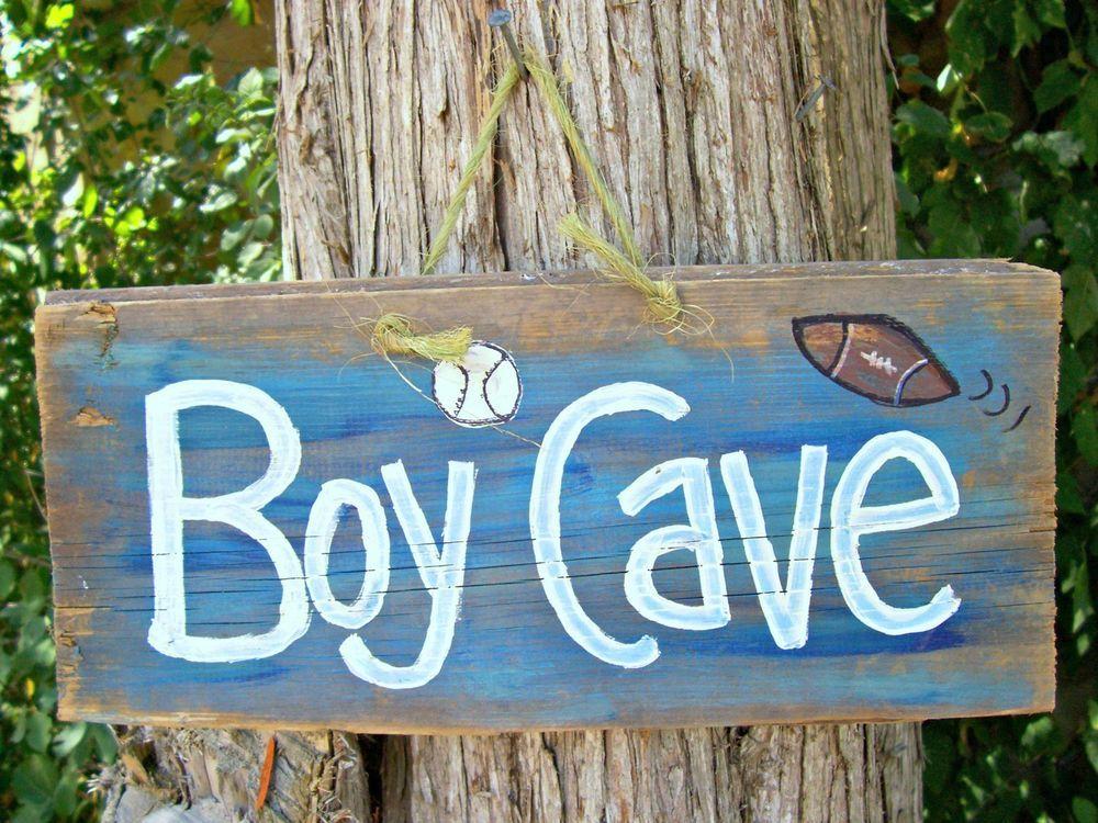Man Cave Football Signs : Reclaimed boy man cave football baseball kids children room sign