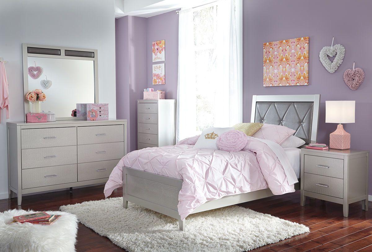 Best Ashley Olivet Silver 4 Pc Dresser Mirror Twin 400 x 300